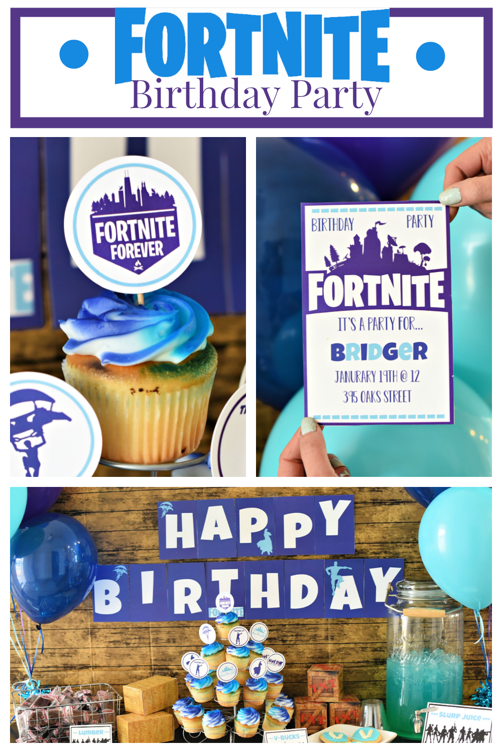 Throw your own Fortnite Birthday Party. We have everything you will need to throw your own Fortnite party, from invitations to a fun Fortnite party game...we have you covered. This is such a fun and simple birthday party, you'll love it. #Fortniteparty #fortnitebirthdayparty #birthdayparty #birthday