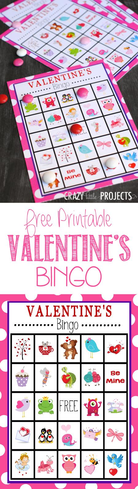 Free Printable Valentine's Bingo Game to Print and Play #valentinesbingo #valentinesday #partygames #bingo