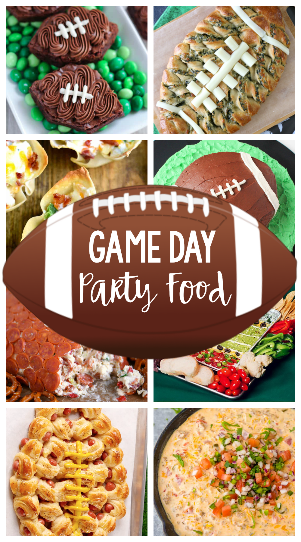 Game Day Party Food-Great football party food ideas whether it's Super Bowl food or food for any tailgate party. Appetizers, desserts, dips and more! #footballparty #footballpartyideas #superbowl
