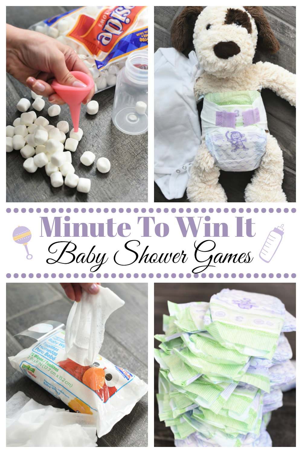 Fun Minute to Win It Baby Shower Party Games-These fun and creative baby shower games will be a huge hit with your guests and they are easy to play! #babyshower #babyshowergames #games #partyideas #minutetowinit