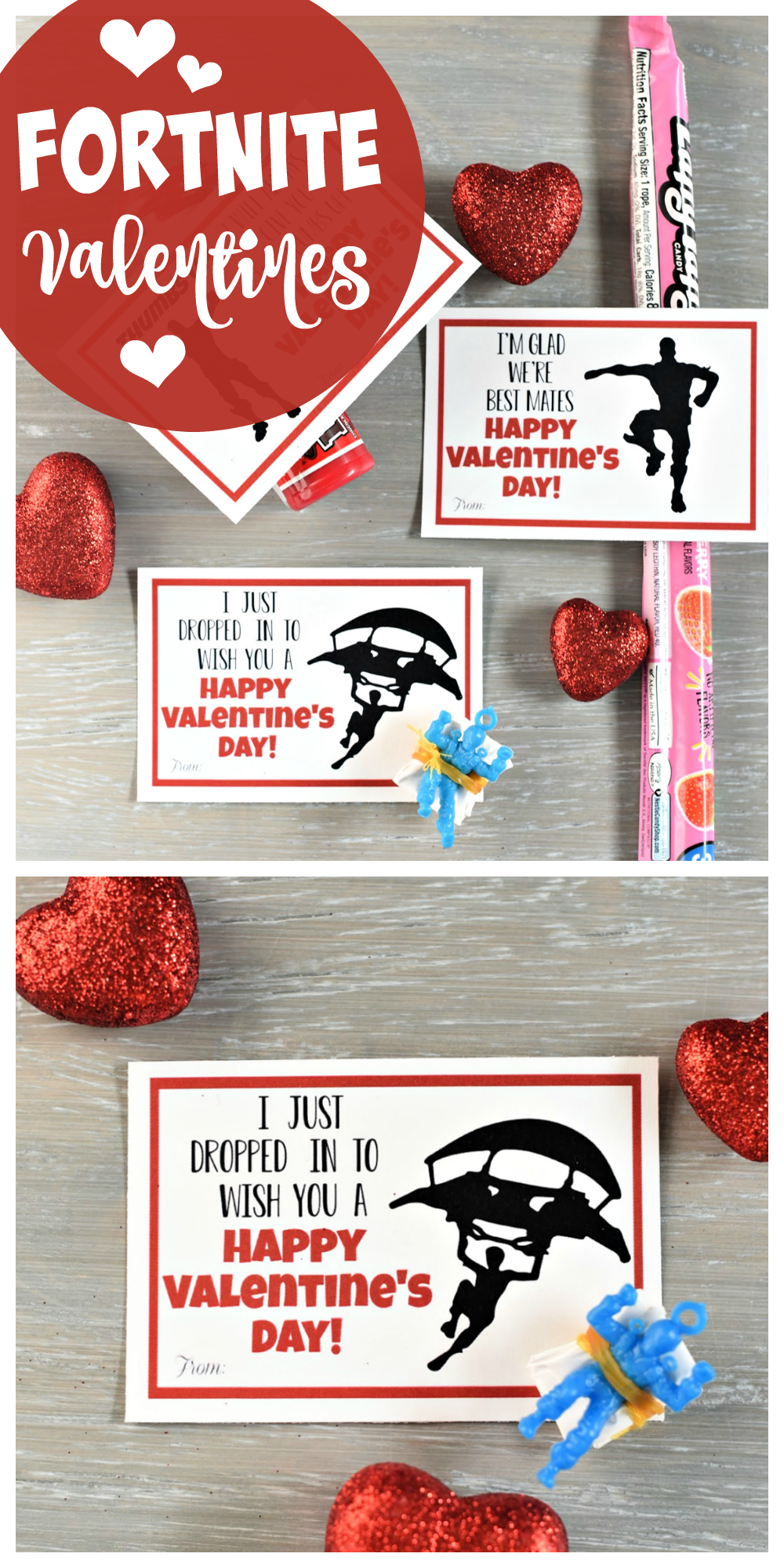 Fortnite Valentines to print and give this Valentine's Day! Your kids will love these printable Fortnite Valentine cards. A great boys Valentine idea especially. #valentinesday