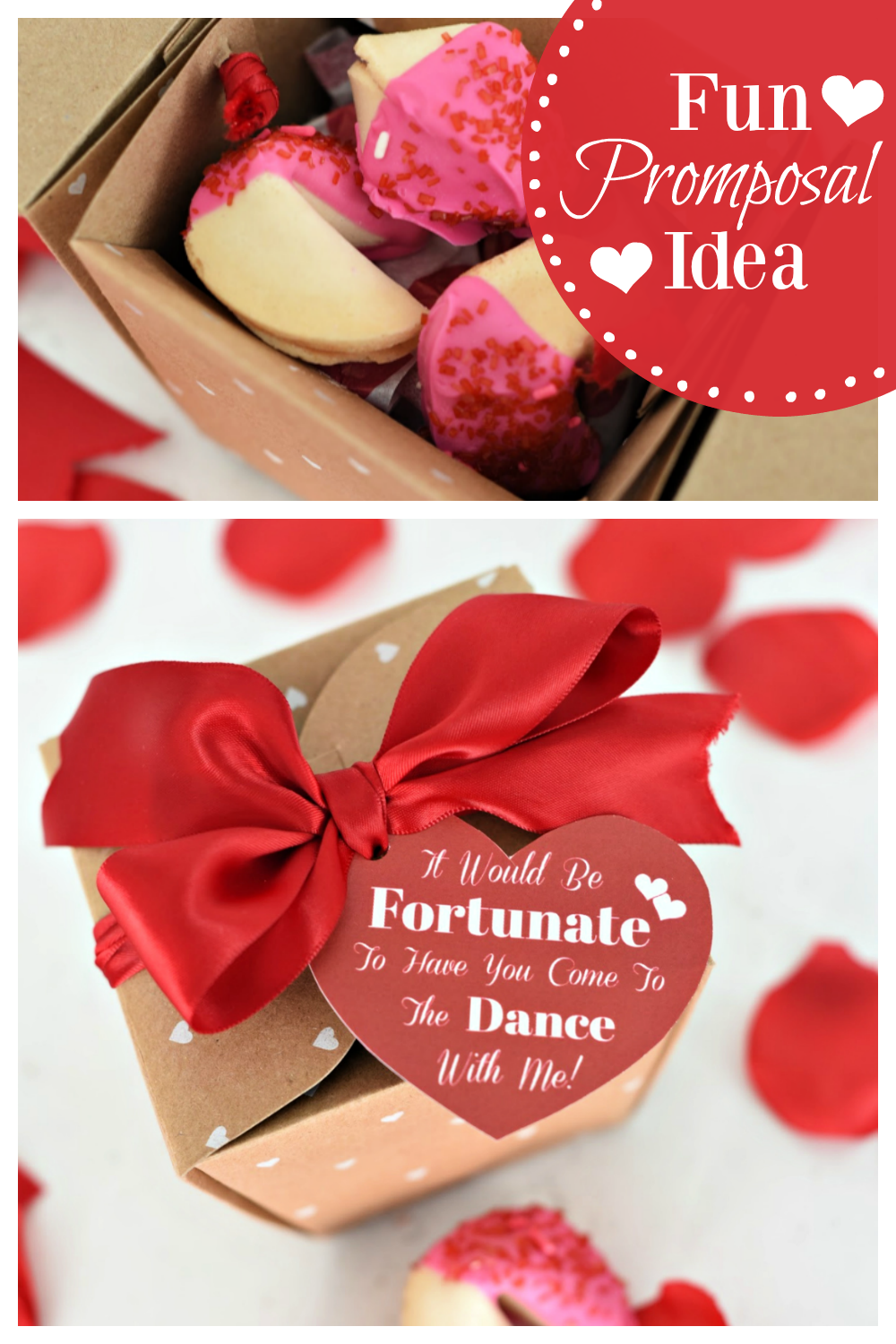 This fun Promposal idea is the perfect way to ask someone to the big dance! Have fun inviting someone to a dance with fun prom proposal ideas. #promposalideas #promposals #promproposals #fortunecookiepromposal #prom