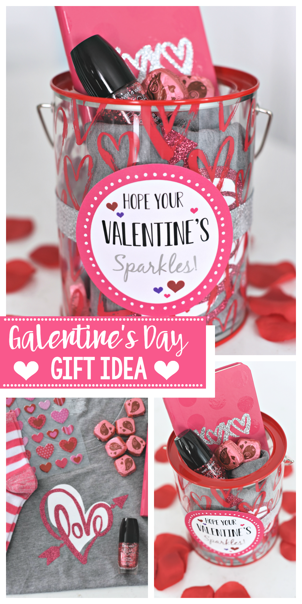 Cute Galentine's Day Gift Idea! Surprise your friends with this cute sparkle themed Valentine's Day gift idea to brighten their day! #galentinesday #valentinesday