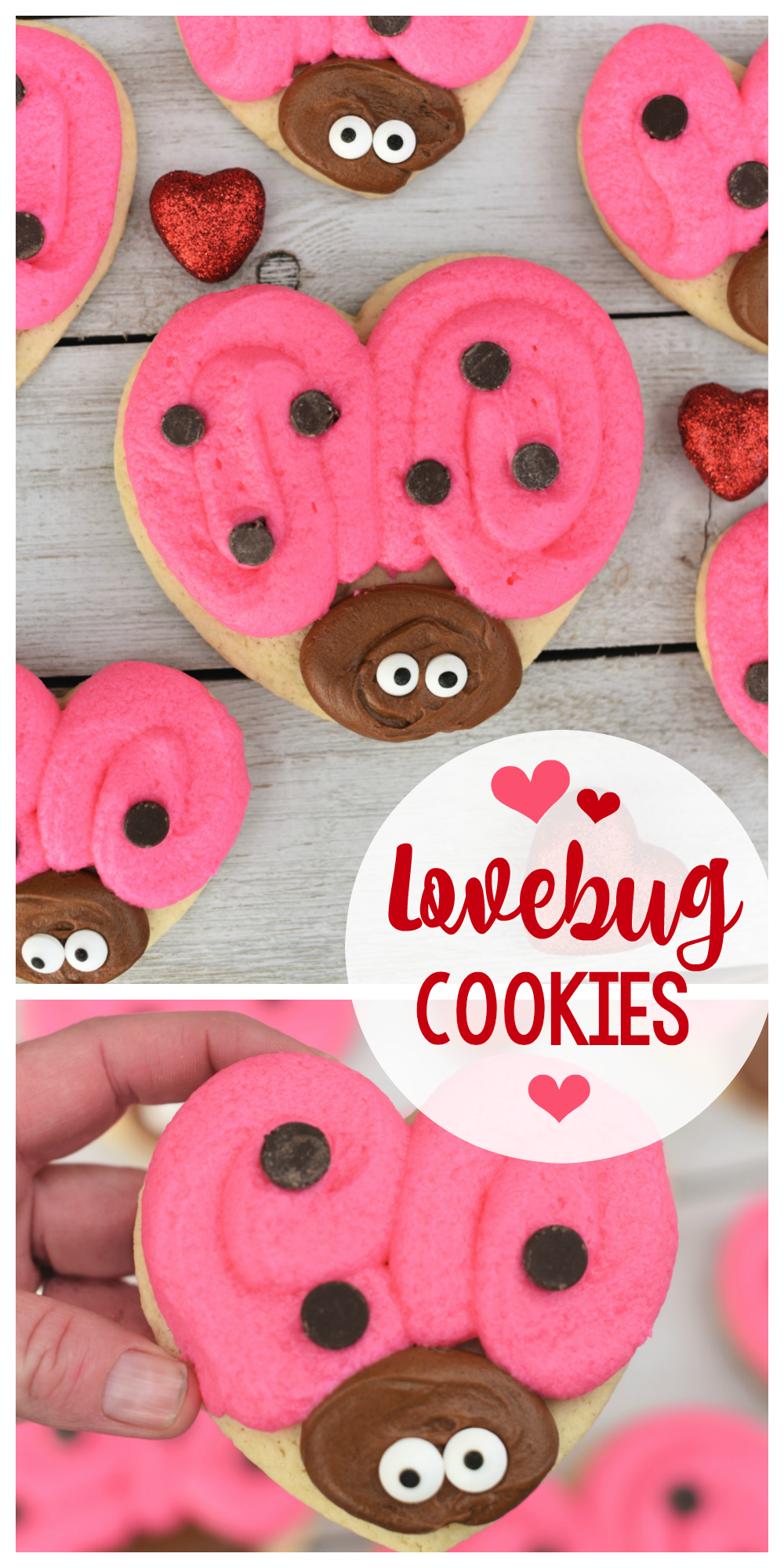 Lovebug Valentine's Cookies-These cute treats are perfect for a Valentine's party for kids or just a fun treat at home. Easy to make Valentine's cookies that turn out so cute! #valentinesday