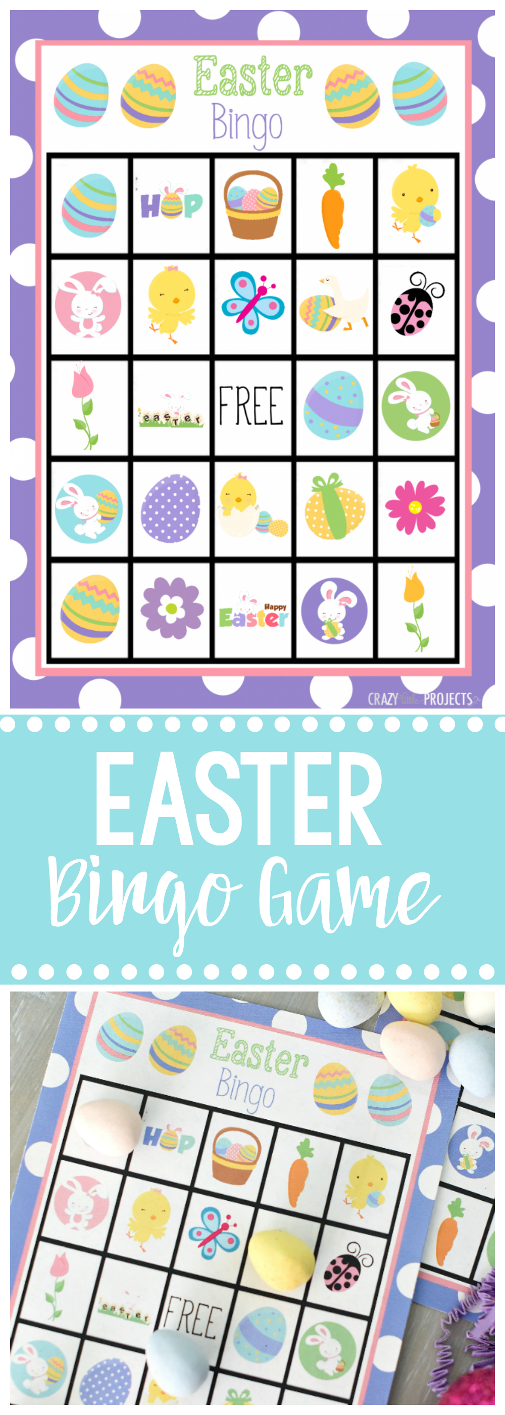 Easter Bingo Game-Print and play this cute Easter bingo and have fun playing with the kids this Spring. #easter #kids #kidsgames