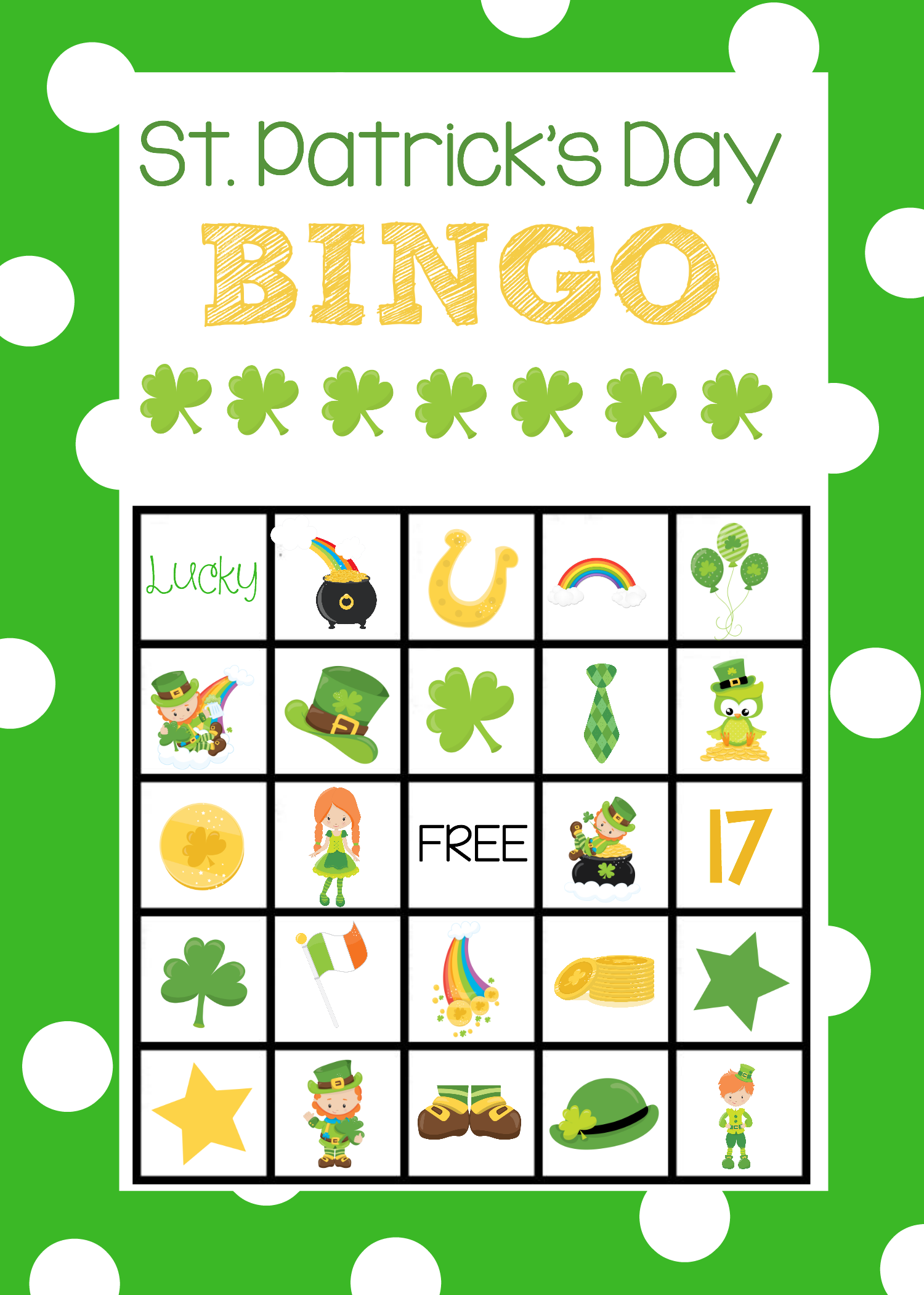 St. Patrick's Day Bingo Boards