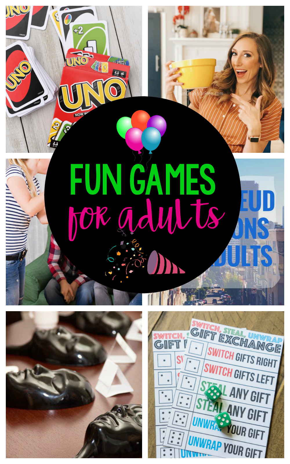 Fun Games for Adults-These fun party games are perfect for an adult game night. Your guests will love these fun adult game ideas! #gamenight #party #games