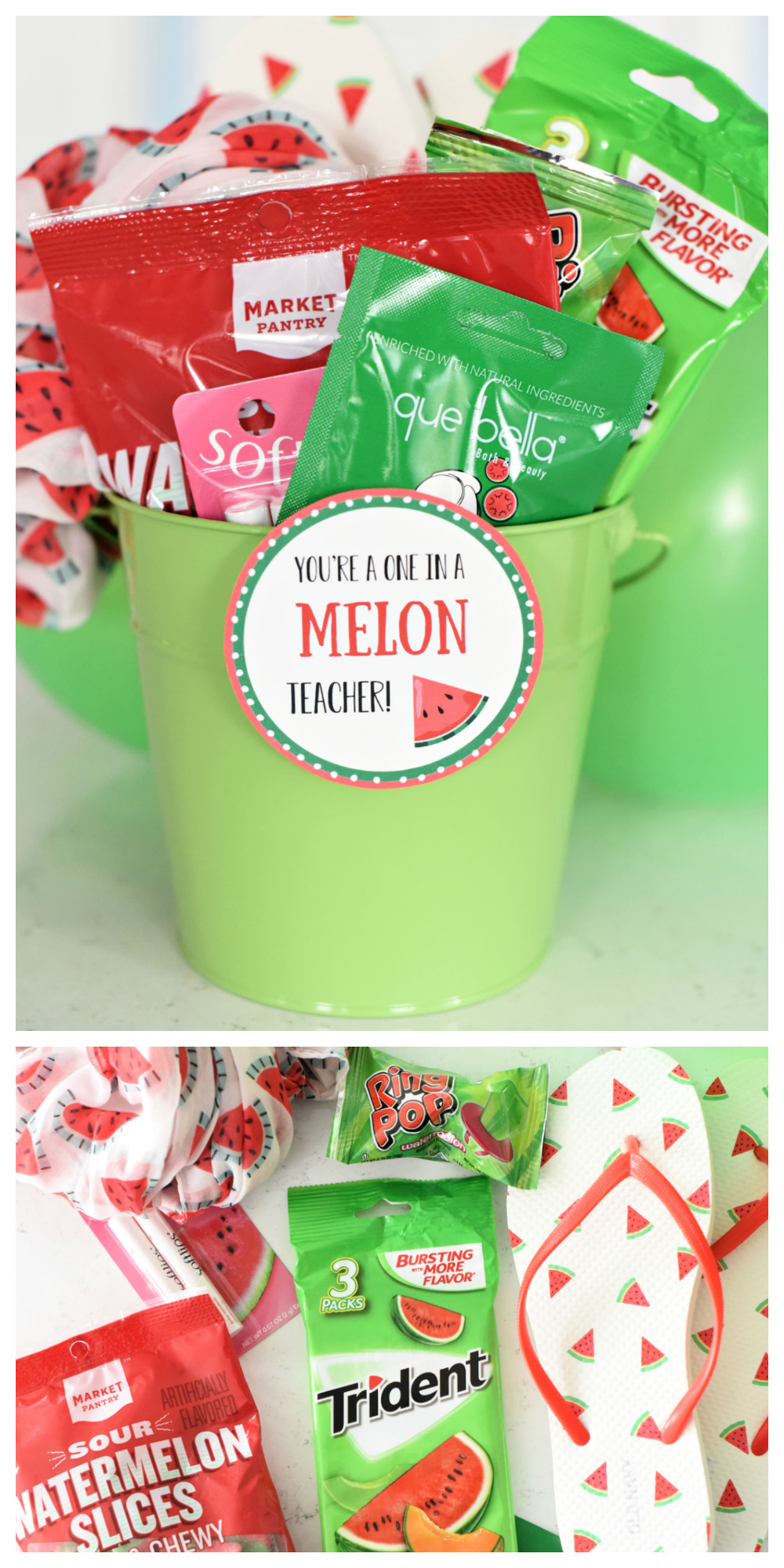 """Creative Teacher Gifts-This """"One in a Melon"""" teacher gift is simple and fun and easy to put together! #teacherappreciation #teacherappreciationgifts #teacherappreciationweek"""