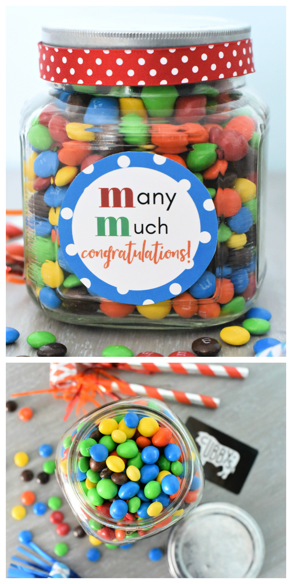 Easy Congratulations Gift Idea-Fill a jar with M&Ms and add this cute tag to make a simple congrats gift for friends! #congratulations #gifts #giftideas