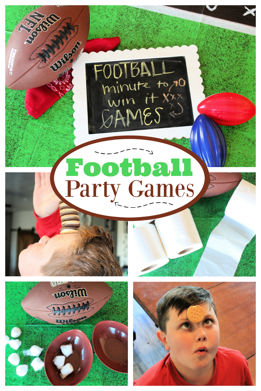 Fun Football Minute to Win it Party Games! We have some super simple and super fun minute to win it football party games. #footballparty #footballpartygames #minutetowinitgames #minutetowinute #partygames #partyideas