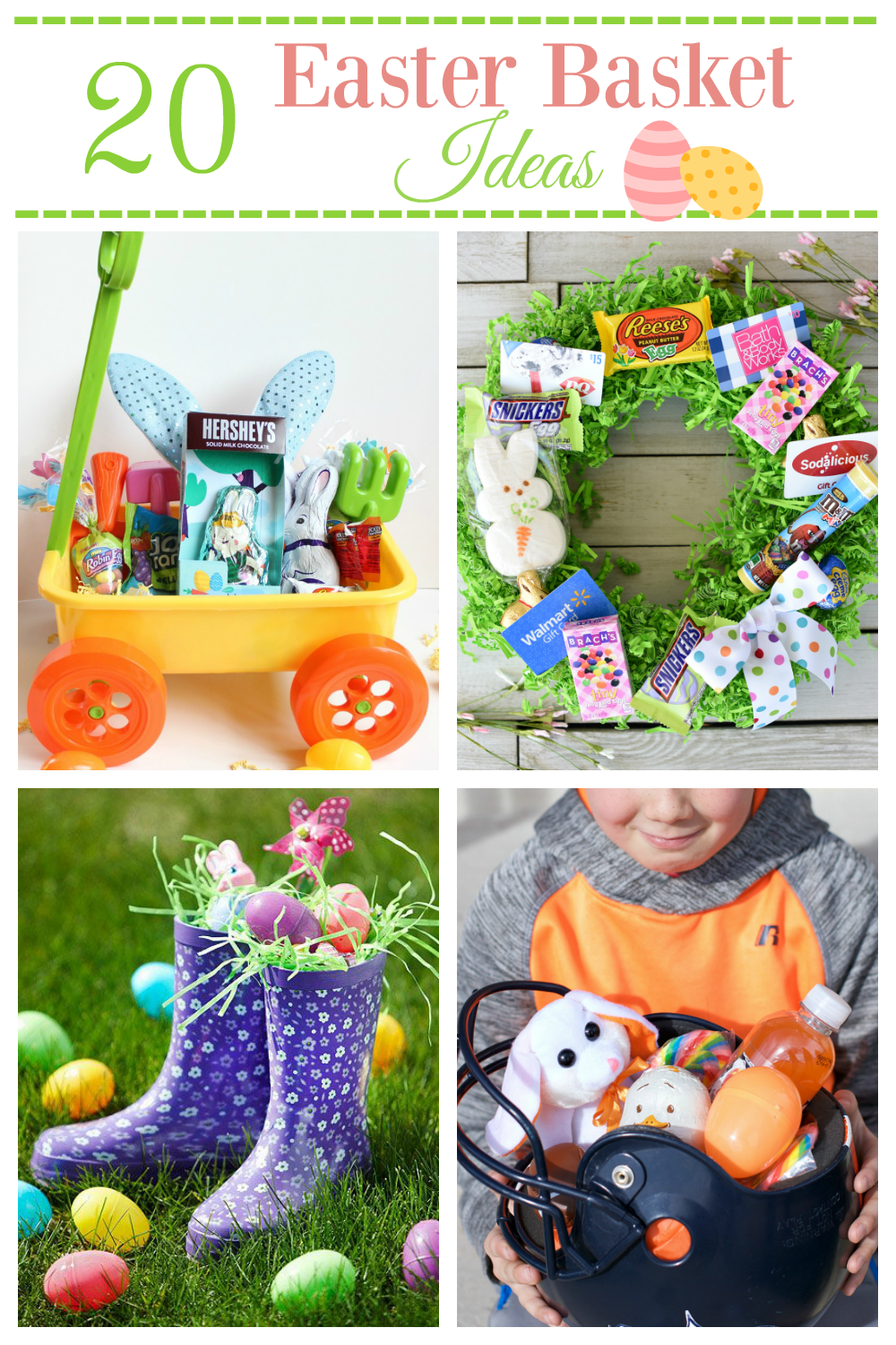 20 Fun Easter Basket Ideas! Get your wheels turning with these fun and creative Easter Basket Ideas. #easterbasket #Easterfun #funbasketideas #Funeasterbaskets
