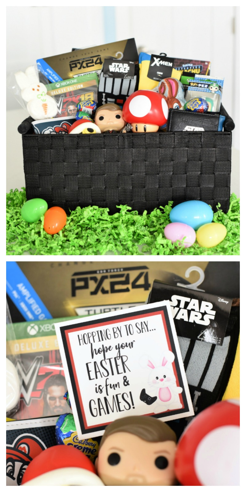 Fun Easter Baskets for Boys-Fill a basket with fun gaming items and add this Hopping by to Say Hope Your Easter is Filled with Fun and Games Tag! A great idea for boys or anyone who loves gaming. #easter #easterbaskets